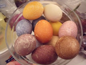 The results of the egg dying after a few hours of being out of the solution and in the fridge.