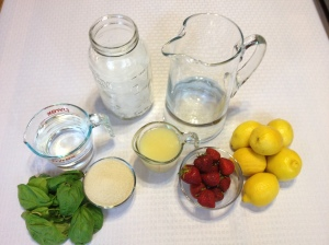 Ingredients: Water, Ice, 8-12 lemons, 1 cup strawberries, 1 cup sugar, 15-25 basil leaves.
