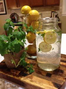 Ta-da! We're pretty sure you'll drink more water with this delightful infusion of lemon and mint. Enjoy!