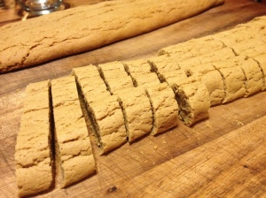 Biscotti after first baking step.