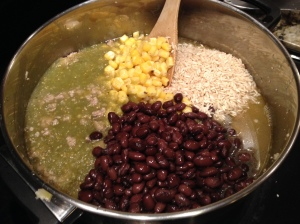 Step 3: Add broth, beans, corn, rice and salsa. Bring to boil and then cover and reduce to a simmer. Cook for about 20-30 minutes or until rice is tender.